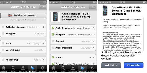 Die iPhone-App scannt Produkte mit dem Barcode (super bei Zubehör) oder liefert für die verschiedenen iPad- und iPhone-Modelle fertige Produktbeschreibungen, hilft beim Einordnen in Kategorien und kümmert sich sogar um die Fotos. Dazu gibt's viele wertvolle Tipps beim Einstellen.