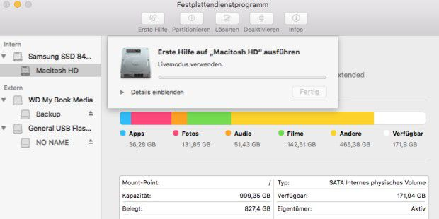 Das Festplattendienstprogramm prüft auf Fehler des Startlaufwerks - und stellt Prognosen, ob diese sich mit dem Programm reparieren lassen.