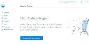 Dropbox: riesige Dateien ohne Dropbox-Konto verschicken