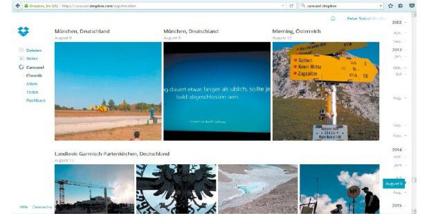 Die Fotofunktion Carousel von Dropbox bietet nicht ganz so viele Möglichkeiten wie Google Fotos, nach Orten sowie nach ein paar weiteren Kriterien sortiert sie die Aufnahmen dann aber doch.