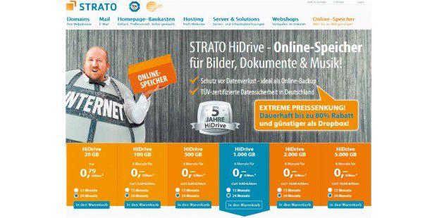 Mit ?extreme Preissenkung? bewirbt der Berliner Anbieter Strato seinen Online-Speicher Hidrive. Die Preise liegen auf dem Niveau der US-Konkurrenz, die Server aber stehen in Deutschland.