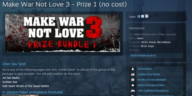 Make War Not Love Aktion bei Steam