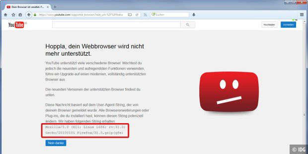 TrutzBox verfälscht Browser-Kennung für Youtube