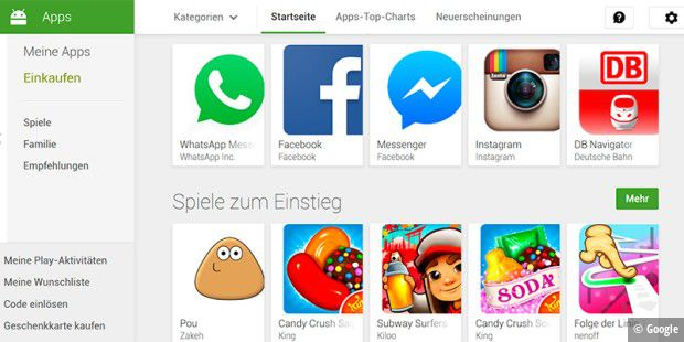 Googles Play Store soll eine Family Library bekommen.