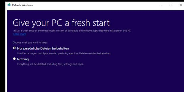 Refresh Windows Tool von Microsoft