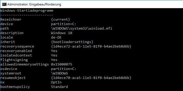 Der Windows 10-Boot-Manager in Aktion.