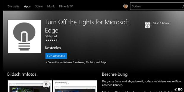 Edge-Erweiterung: Turn Off the Lights for Microsoft Edge