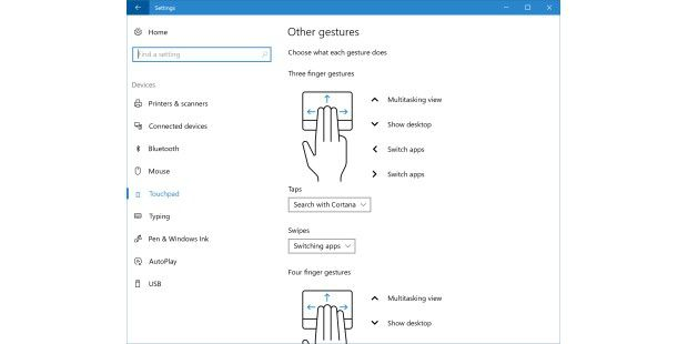 Neue Touchpad-Funktionen in Windows 10