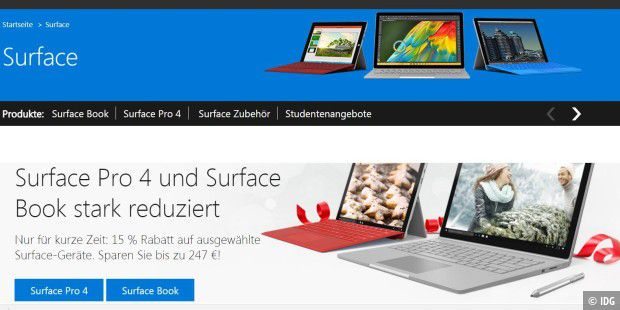 Microsoft: Surface Pro 4 und Surface Book mit 15% Rabatt