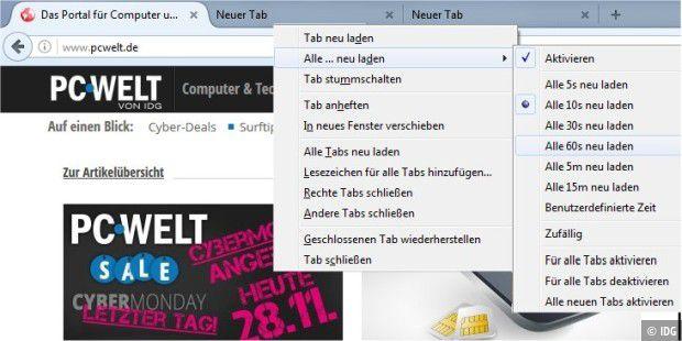 Webseiten im Browser automatisch neu laden und aktualisieren - PC-WELT