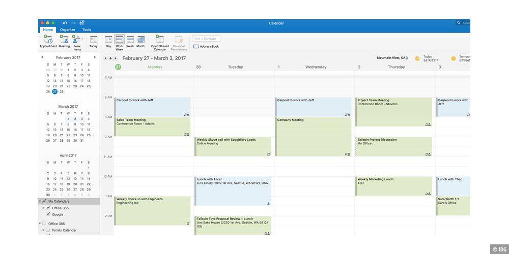 Outlook am Mac unterstützt Google Kalender und Kontakte