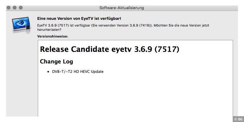 Eye-TV-Update für bessere DVB T2-Qualität, iOS-Lösung