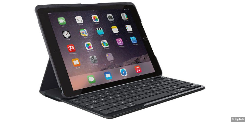 logitech bluetooth tastatur und h lle f rs ipad 9 7. Black Bedroom Furniture Sets. Home Design Ideas