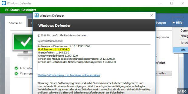 Windows Defender, Versionskontrolle