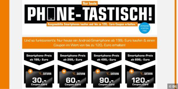 Saturn Phonetastisch: Bei Handykauf bis zu 120 € Coupon-Card gratis