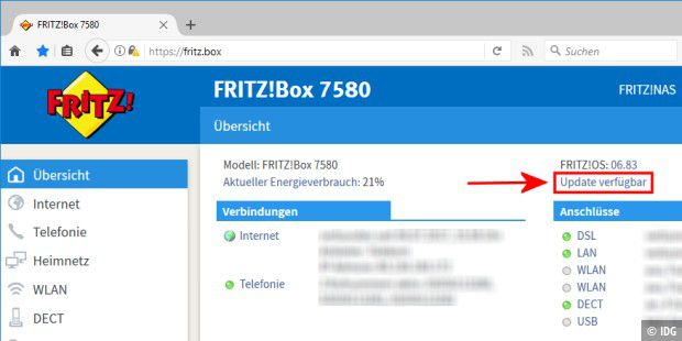Fritzbox kündigt Update an