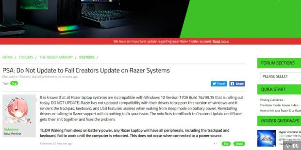 Windows 10 Herbst-Update: Probleme bei Razer-Laptops - PC-WELT