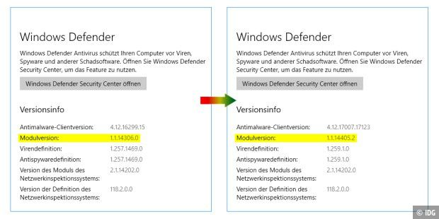 Windows Defender vor und nach dem Update