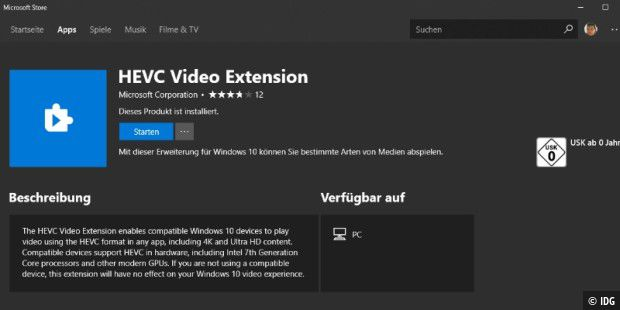 HEVC Video Extension im Microsoft Store