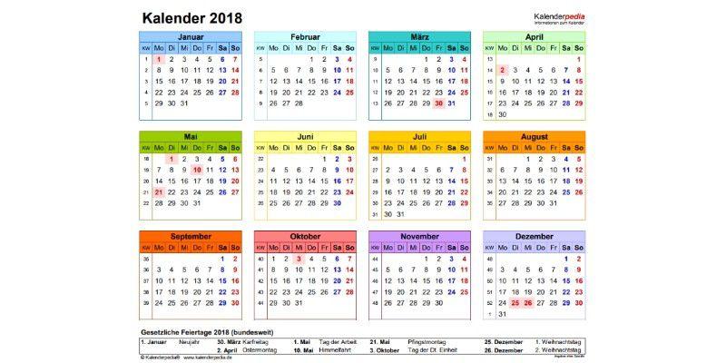 Kalender 2018 kostenlos herunterladen, personalisieren und ...