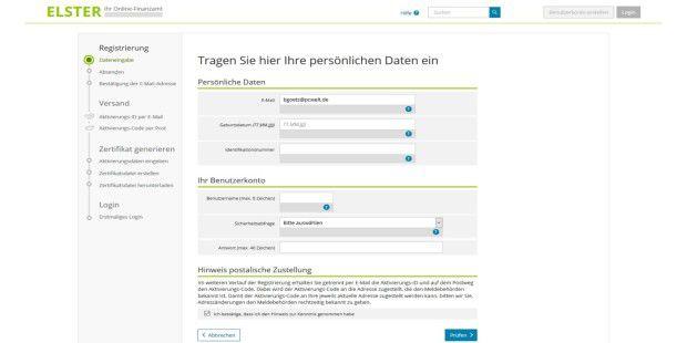 fr die registrierung tragen sie ihre persnlichen daten bei elster online ein - Anschreiben Steuererklarung