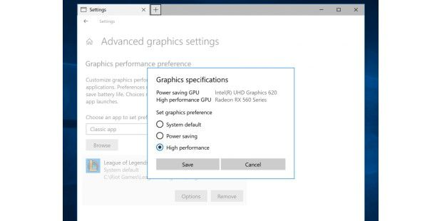 Neue Multi-GPU-Einstellungen in Windows 10