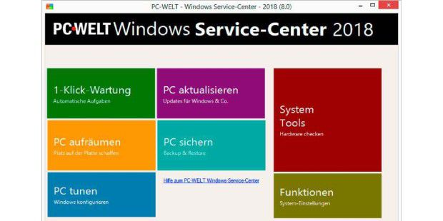 Über PC-WELT Windows-Service-Center konfigurieren Sie mehrere Wartungs-Tools.