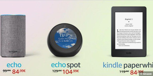 echo echo spot echo dot echo show und kindle heute. Black Bedroom Furniture Sets. Home Design Ideas