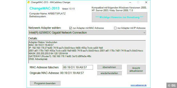 MAC-Adresse per Tool ändern - PC-WELT