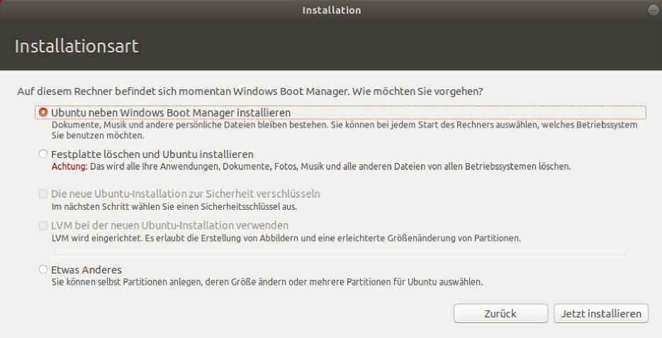 ubuntu neben windows 10 installieren