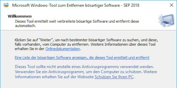 Windows-Tool zum Entfernen bösartiger Software, Version 5.64
