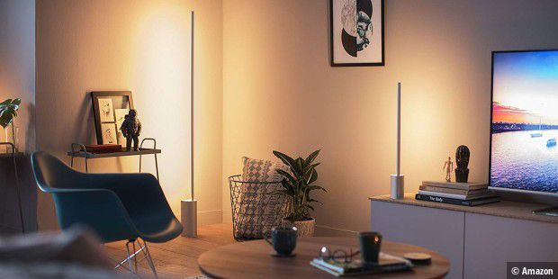 Philips Hue White and Color Ambiance LED Stehleuchte Signe, dimmbar, steuerbar via App