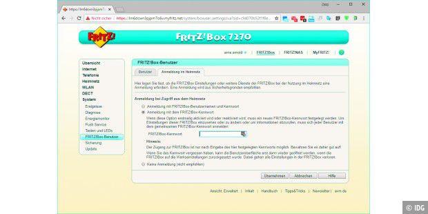 fritzbox kennwort ändern