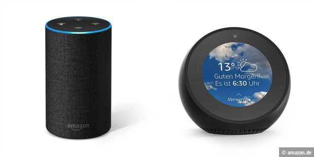 amazon echo und echo spot im angebot pc welt. Black Bedroom Furniture Sets. Home Design Ideas