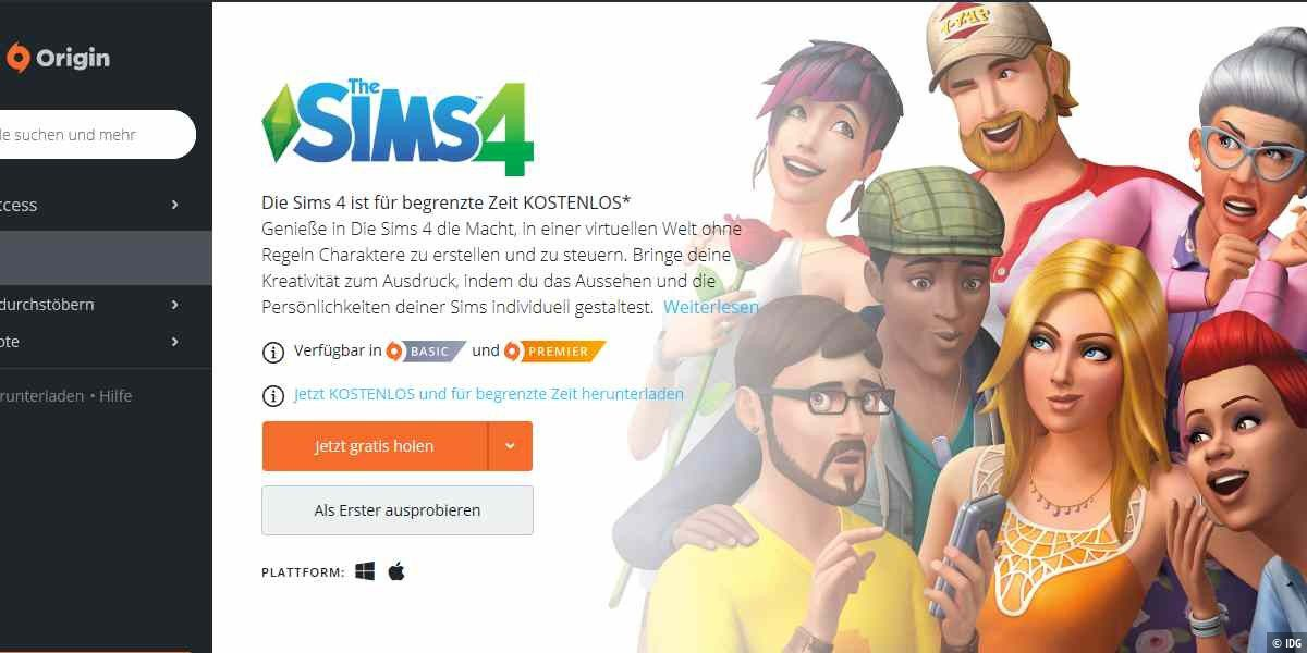 Die Sims 4 als Gratis-Download
