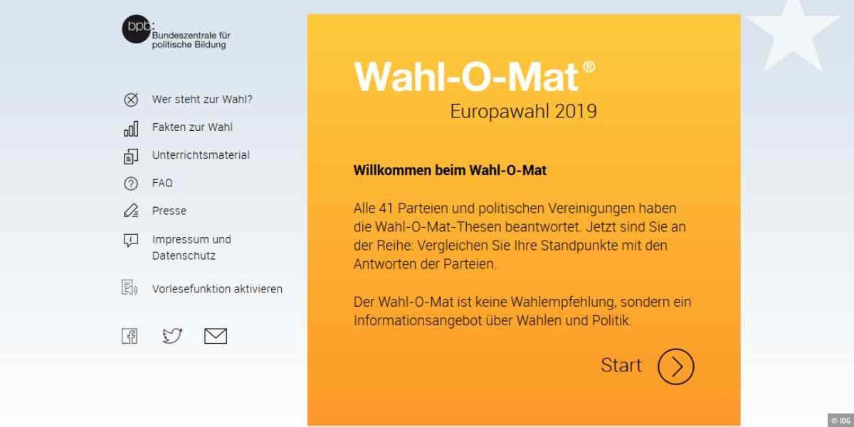 Wahl-o-Mat zur Europawahl 2019 wieder online