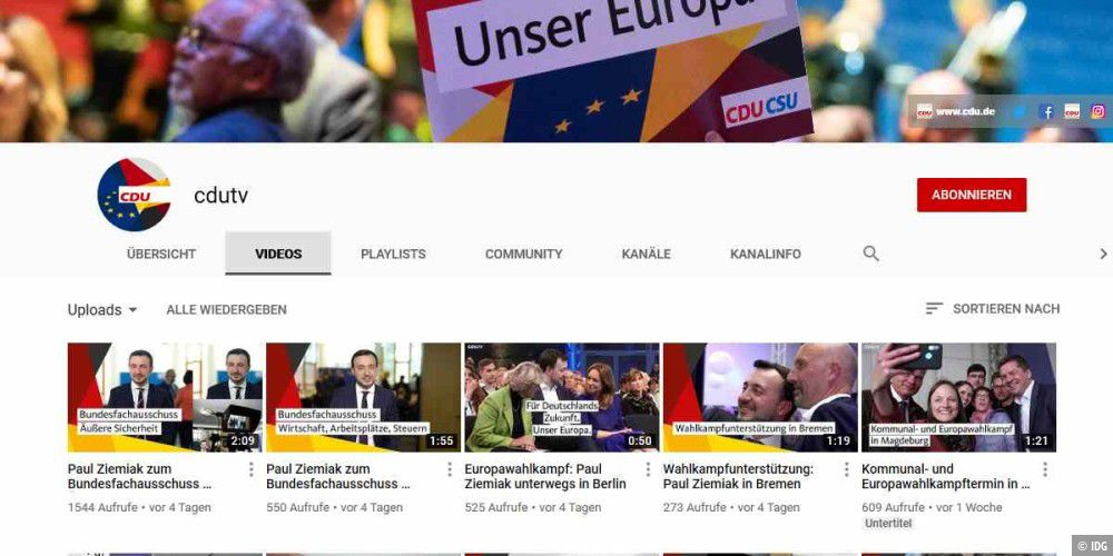CDU löscht Raubkopien auf ihrem Youtube-Kanal