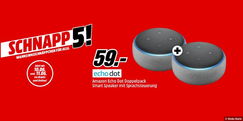media markt 2 x amazon echo dot f r unter 60 euro pc welt. Black Bedroom Furniture Sets. Home Design Ideas