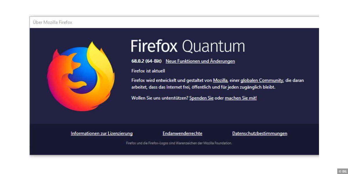 Firefox 68.0.2 behebt Fehler und schließt Lücke