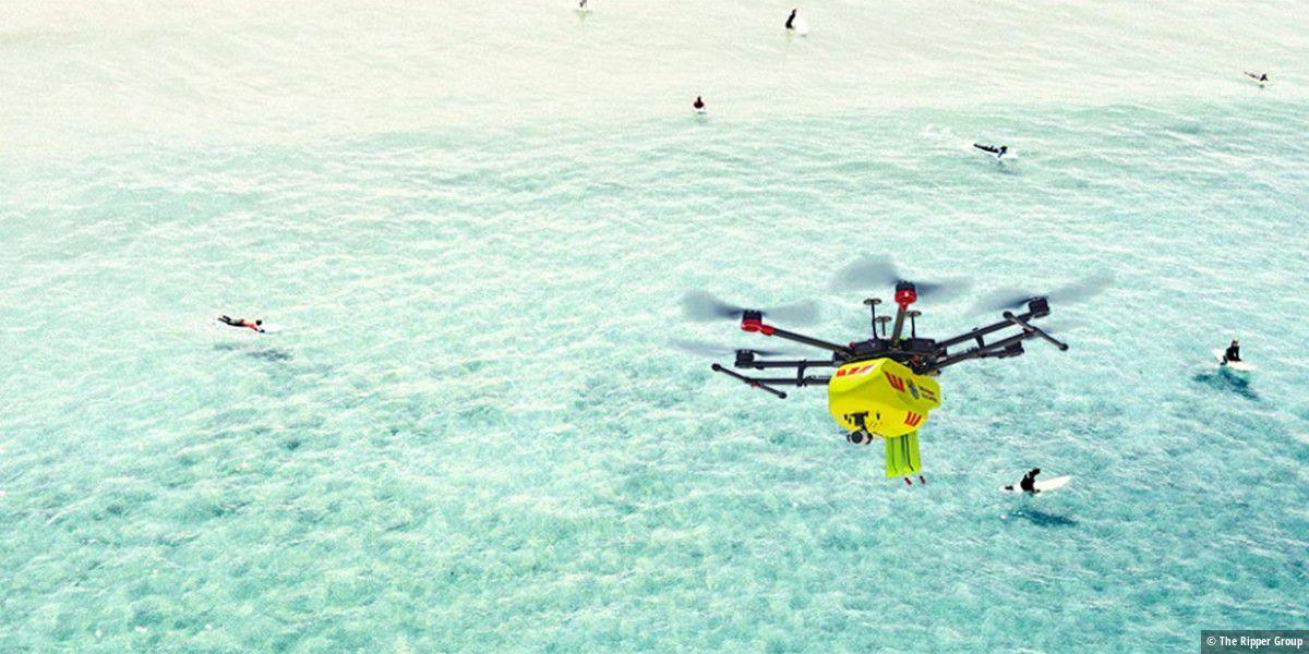 Drohne warnt Schwimmer vor Krokodilen