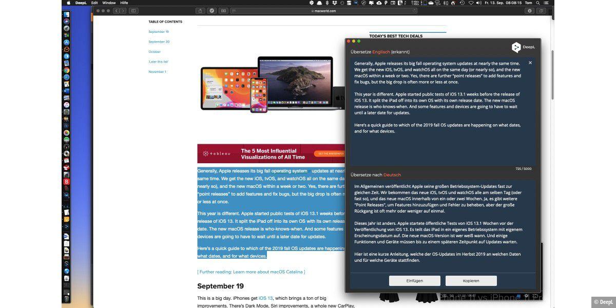 Übersetzung: DeepL-App für Windows und Mac