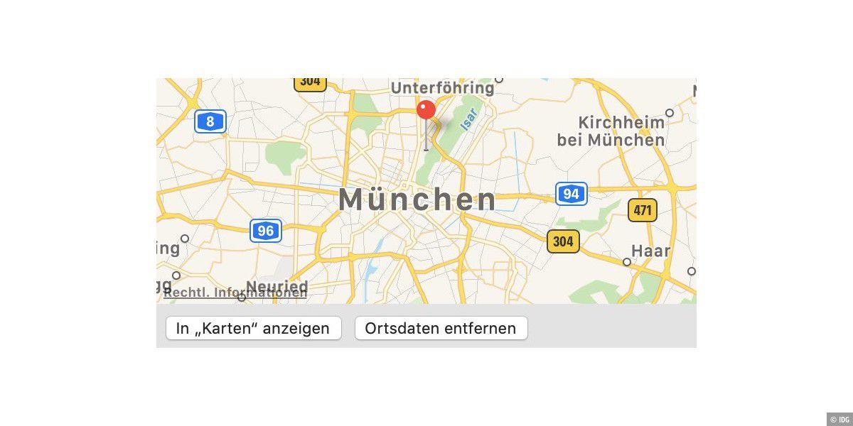 Ortsdaten von iPhone-Bildern entfernen