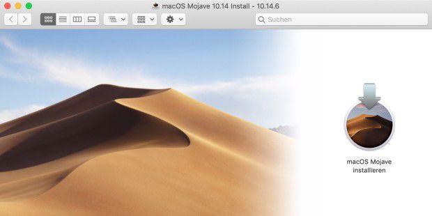 DMG-Installationsdatei für macOS Mojave im App Store finden