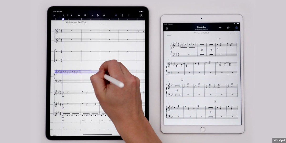 Staffpad für iOS und Win - Partituren mit Apple Pencil